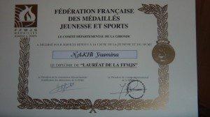 Notre directrice est honorée par les Médaillés Jeunesse et Sport de la Gironde dans Citoyenneté SAM_4568-300x168