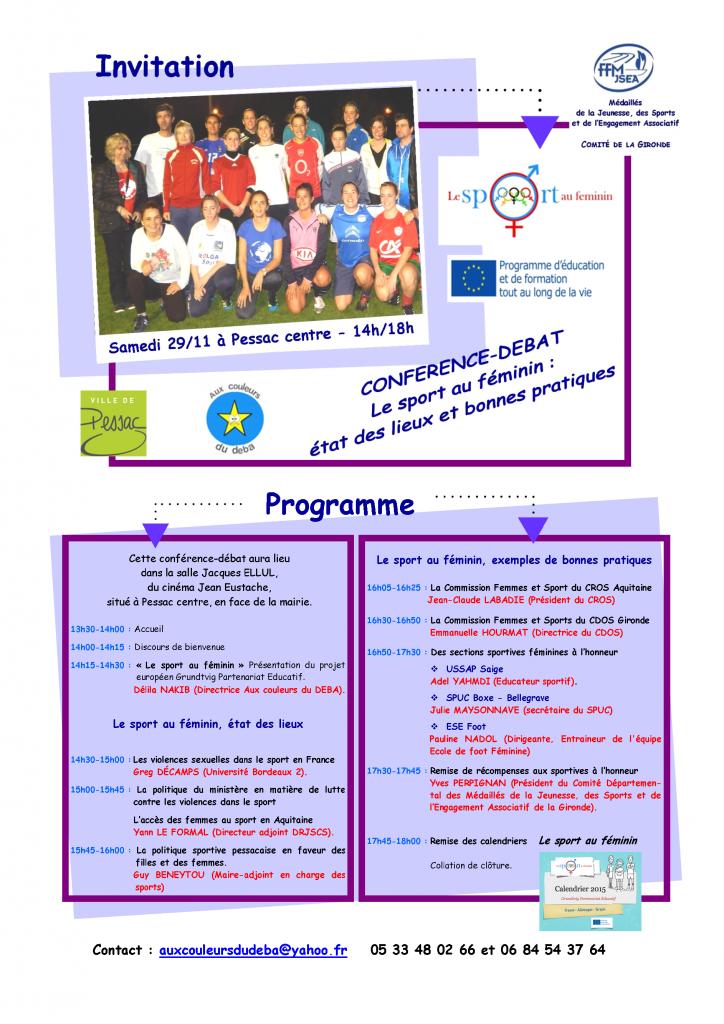29 nov 2014 invitation conférence débat Le sport au féminin